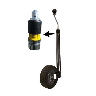 Jockey wheel with nose load indicator