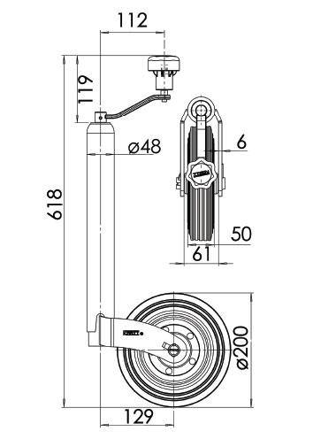 Kartt Orange 48mm jockey wheel with Steel Rim
