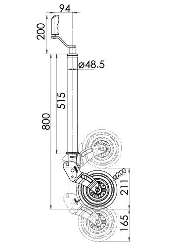 Kartt Orange Auto Lift Ribbed 48mm jockey wheel