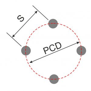 Diagram Showing PCD of 4 stud wheel