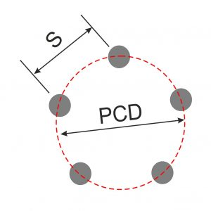 Diagram Showing PCD of 5 stud wheel