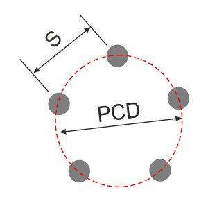 Diagram Showing PCD of 5 stud wheel
