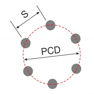 Diagram Showing PCD of 6 stud wheel